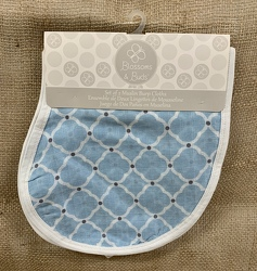 Set of 2 Muslin Burp Cloths Blue from Clark Flower and Gift Shop in Clark, SD