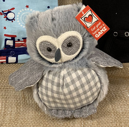 Dove Gray Plaid Owl from Clark Flower and Gift Shop in Clark, SD