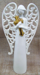 Porcelain Angel holding Cross from Clark Flower and Gift Shop in Clark, SD