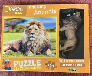 African Lion Puzzle 100 pc with Figurine from Clark Flower and Gift Shop in Clark, SD
