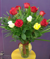 Red, Yellow & White Roses from Clark Flower and Gift Shop in Clark, SD