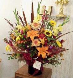Fall Mix with Pheasant Feathers from Clark Flower and Gift Shop in Clark, SD