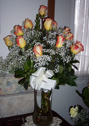 Dozen Roses & Babies Breath from Clark Flower and Gift Shop in Clark, SD
