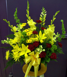 Burgundy & Yellow Mix from Clark Flower and Gift Shop in Clark, SD