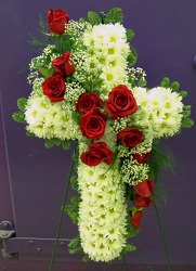 Cross of Daisies with Red Rose Cascade from Clark Flower and Gift Shop in Clark, SD