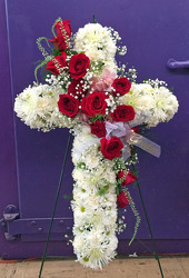 White Cross with Red Roses & Orchids from Clark Flower and Gift Shop in Clark, SD
