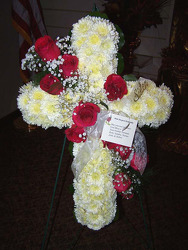 Cross of White Poms with Red Roses from Clark Flower and Gift Shop in Clark, SD