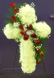 Cross of White Carnations with Red Rose Cascade from Clark Flower and Gift Shop in Clark, SD