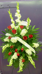 Standing Spray of Red Roses & White Blooms from Clark Flower and Gift Shop in Clark, SD