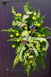 Standing Spray With Yellow Roses from Clark Flower and Gift Shop in Clark, SD
