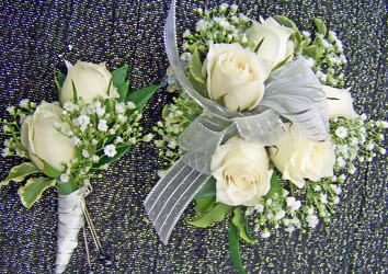 White Spray Roses & Babies Breath Wrist Corsage & Boutineer from Clark Flower and Gift Shop in Clark, SD