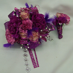 Purple Wrist Corsage & Boutineer with Bling from Clark Flower and Gift Shop in Clark, SD