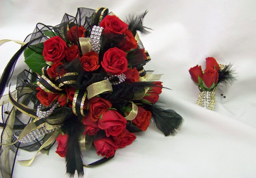Red Spray Roses with Black, Gold & Silver Accents from Clark Flower and Gift Shop in Clark, SD