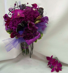 Purple Bouquet & Matching Boutineer from Clark Flower and Gift Shop in Clark, SD