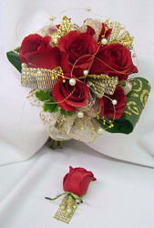 Red Roses With Gold Accents Bouquet & Boutineer from Clark Flower and Gift Shop in Clark, SD