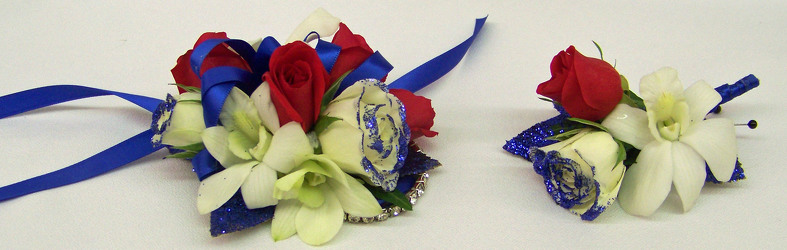 Red White & Blue Wrist Corsage & Boutineer from Clark Flower and Gift Shop in Clark, SD