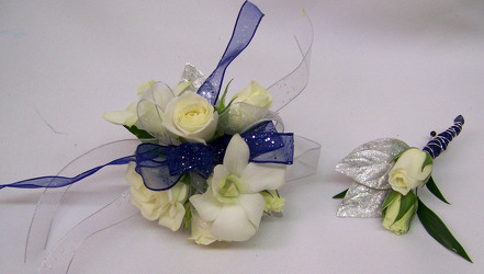 White Mix with Silver & Blue Accents Wrist Corsage from Clark Flower and Gift Shop in Clark, SD