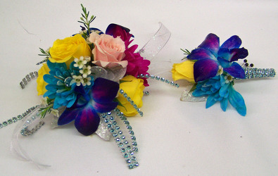 Bright Mix of Blooms Wrist Corsage & Boutineer from Clark Flower and Gift Shop in Clark, SD