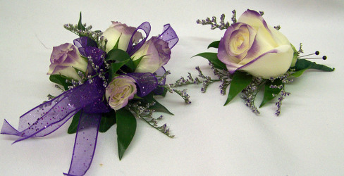 White Spray Roses Tipped Purple Wrist Corsage from Clark Flower and Gift Shop in Clark, SD