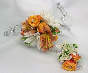 Orange & White Arm Corsage & Boutineer from Clark Flower and Gift Shop in Clark, SD
