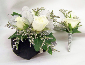 White Spray Roses Wrist Corsage & Boutineer from Clark Flower and Gift Shop in Clark, SD