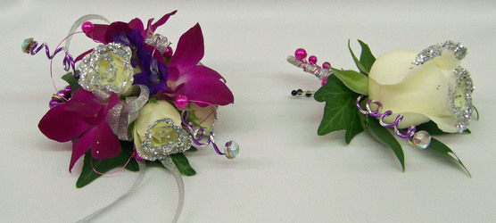 Wrist Corsage of Purple & White & Silver from Clark Flower and Gift Shop in Clark, SD