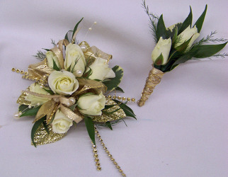 White Spray Roses with Gold Accent Wrist Corsage & Boutineer from Clark Flower and Gift Shop in Clark, SD