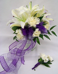 White with Purple Ribbon Accents Bouquet from Clark Flower and Gift Shop in Clark, SD