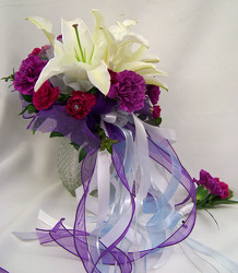 White Lilies & Purple Carnations Bouquet & Boutineer from Clark Flower and Gift Shop in Clark, SD