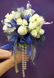 White Roses & Spray Roses with Silver & Blue Accents from Clark Flower and Gift Shop in Clark, SD