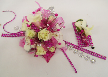 Wrist Corsage of White Blooms & Silver & Hot Pink Accents from Clark Flower and Gift Shop in Clark, SD