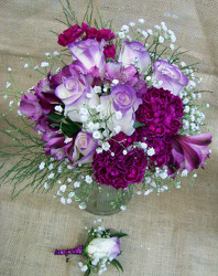 Purple & White Bouquet & Boutineer from Clark Flower and Gift Shop in Clark, SD