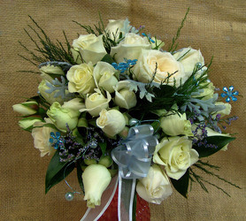 White Spray Roses & Blue Accents Bouquet from Clark Flower and Gift Shop in Clark, SD