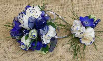 Blue & White Arm Corsage & Boutineer from Clark Flower and Gift Shop in Clark, SD