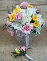 Pink, Yellow & White Bouquet & Boutineer from Clark Flower and Gift Shop in Clark, SD