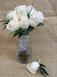 White Roses Handtied Bouquet & Boutineer from Clark Flower and Gift Shop in Clark, SD