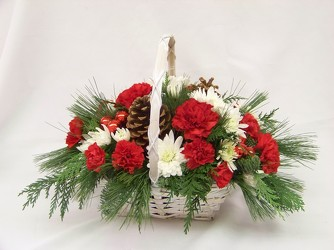 Basket Centerpiece for Christmas Wedding from Clark Flower and Gift Shop in Clark, SD