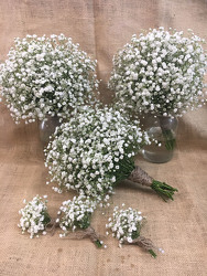 Babies Breath Wedding Bouquets & Boutineers from Clark Flower and Gift Shop in Clark, SD
